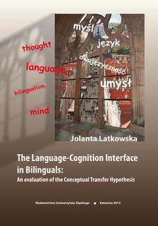 The Language-Cognition Interface in Bilinguals: An evaluation of the Conceptual Transfer Hypothesis - ebook/pdf