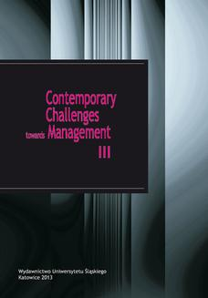 Contemporary Challenges towards Management III - ebook/pdf