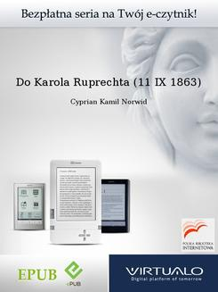 Do Karola Ruprechta (11 IX 1863) - ebook/epub