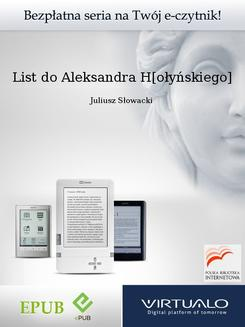 List do Aleksandra H[ołyńskiego] - ebook/epub